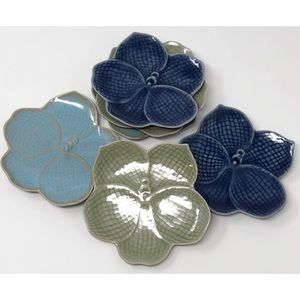 6 Anthropologie Japan Lotus Flower Dessert Plates
